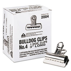 "Bulldog Clips, Steel, 1"" Capacity, 3""w, Nickel-Plated, 12 per Box"