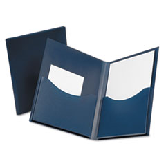 Poly Double Stuff Gusseted 2-Pocket Folder, 200-Sheet Capacity, Navy
