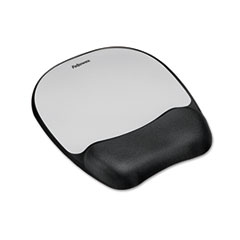 Mouse Pad w/Wrist Rest, Nonskid Back, 8 x 9-1/4, Silver