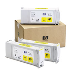 HP 83 (C5075A) UV Yellow Original Ink Cartridges, 3/Pk