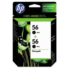 HP 56, (C9319FN) 2-pack Black Original Ink Cartridges