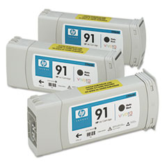 HP 91 (C9480A) Black Original Ink Cartridges, 3/Pk