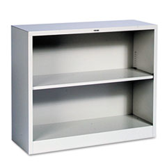 Metal Bookcase, Two-Shelf, 34-1/2w x 12-5/8d x 29h, Light Gray HONS30ABCQ
