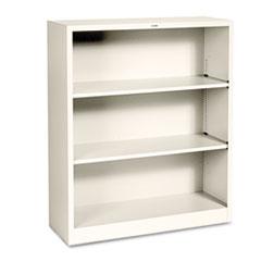 Metal Bookcase, Three-Shelf, 34-1/2w x 12-5/8d x 41h, Putty HONS42ABCL