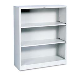Metal Bookcase, Three-Shelf, 34-1/2w x 12-5/8d x 41h, Light Gray HONS42ABCQ