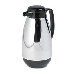 Vacuum Glass Lined Chrome-Plated Carafe, 1L Capacity, Black Trim