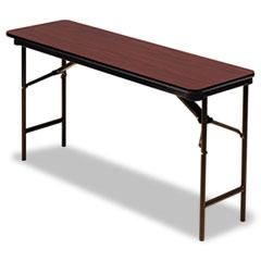 Premium Wood Laminate Folding Table, Rectangular, 60w x 18d x 29h, Mahogany ICE55274