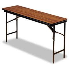 Premium Wood Laminate Folding Table, Rectangular, 72w x 18d x 29h, Oak ICE55285