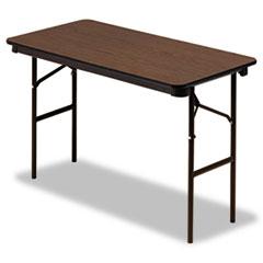 Economy Wood Laminate Folding Table, Rectangular, 48w x 24d x 29h, Walnut ICE55304