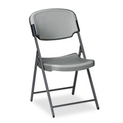 Rough N Ready Resin Folding Chair, Steel Frame, Charcoal ICE64007