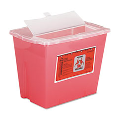 Sharps Container, Square, Plastic, 2gal, Red