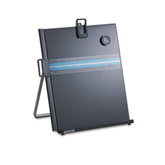 Letter-Size Freestanding Desktop Copyholder, Stainless Steel, Black