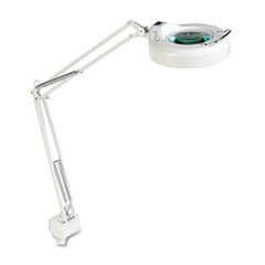 "Clamp-On Fluorescent Swing Arm Magnifier Lamp, 5"" Lens, 42"" Reach, White"
