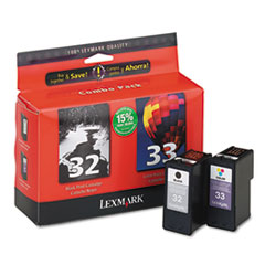 18C0532 (32, 33) Ink, 390 Page-Yield, 2/Pack, Black; Tri-Color