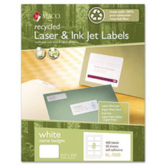 Recycled Laser/Inkjet White Name Badge Labels, 3 3/8 x 2 1/3, White, 400/Box