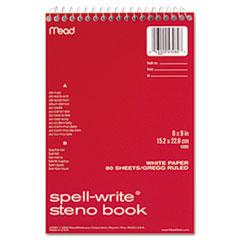Spell-Write Wirebound Steno Book, Gregg Rule, 6 x 9, White, 80 Sheets MEA43082