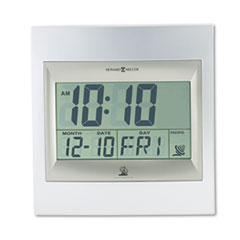 """TechTime II Radio-Controlled LCD Wall/Table Alarm Clock, 8-3/4""""W x 1""""D x 9-1/4""""H MIL625236"""