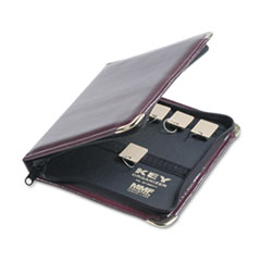 Portable Zippered Key Case, 24-Key, Leather-Like Vinyl, Burgundy, 8 3/8 x 7
