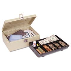 HEAVY-DUTY STEEL CASH BOX W/7 COMPARTMENTS, LATCH LOCK, SAND