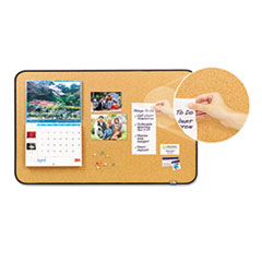 Sticky Cork Self-Stick Bulletin Board, 36 x 22, Natural, Black Frame