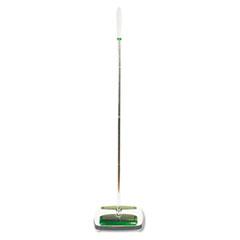 """Quick Floor Sweeper, Rubber Bristles, 42"""" Aluminum Handle, White"""