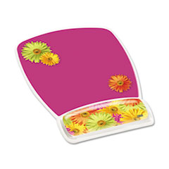 Gel Mouse Pad w/Wrist Rest, Nonskid Plastic Base, 6-3/4 x 9-1/8, Daisy Design