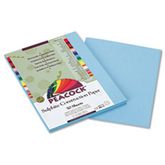 Peacock Sulphite Construction Paper, 76 lbs., 9 x 12, Sky Blue, 50 She