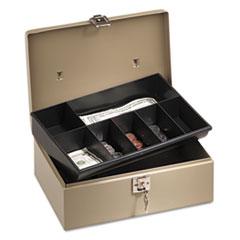 Lockn Latch Steel Cash Box w/7 Compartments, Key Lock, Pebble Beige
