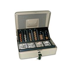 3-in-1 Cash-Change-Storage Steel Security Box w/Key Lock, Pebble Beige