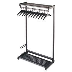 """Single-Sided Rack w/Two Shelves, 12 Hangers, Steel, 36"""" Wide, Black"""