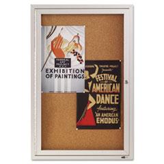 Enclosed Bulletin Board, Natural Cork/Fiberboard, 24 x 36, Silver Aluminum Frame