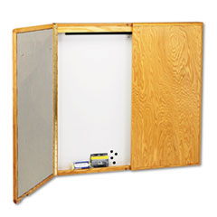 Marker Board Cabinet w/ Screen, Porcelain/Steel, 48 x 48 x 24, White/Oak Frame