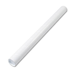 Fiberboard Mailing Tube, Recessed End Plugs, 36 x 3, White, 25/Carton