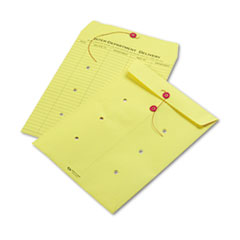 Colored Paper String & Button Interoffice Envelope, 10 x 13, Yellow, 100/Box