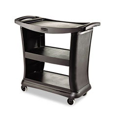 Executive Service Cart, Three-Shelf, 20-1/3w x 38-9/10d, Black RCP9T6800BK