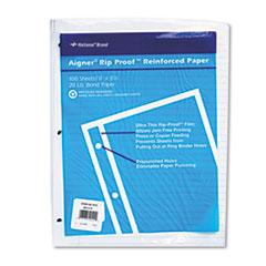 Rip Proof Reinforced Filler Paper, Ruled, 20 lb, Letter, White, 100 Sheets/PK