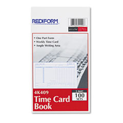 Employee Time Card, Weekly, 4-1/4 x 7, 100/Pad