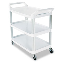 Open Sided Utility Cart, Three-Shelf, 40-5/8w x 20d x 37-13/16h, Off-White RCP409100CM