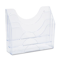Three-Pocket File Folder Organizer, Plastic, 13 x 3 1/2 x 11 1/2, Clear RUB96050ROS