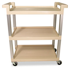 Three-Shelf Service Cart w/Brushed Aluminum Upright, 16-1/4 x 31-1/2 x 36, Beige RCP9T6571BG