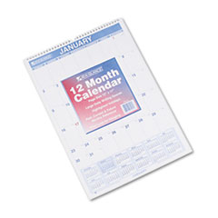 Monthly Wall Calendar with Ruled Daily Blocks, 12 x 17, White, 2015
