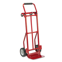 "Safco Convertible Hand Truck - 400 lb Capacity - 4 Casters - 8"", 4"" Caster Size - Steel - 18"" Width x 16"" Depth x 51"" Height - Steel Frame - Red"