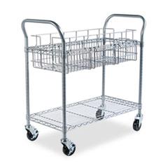 Wire Mail Cart, 600-lb Cap, 18-3/4w x 39d x 38-1/2h, Metallic Gray