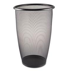 Onyx Round Mesh Wastebasket, Steel Mesh, 9gal, Black