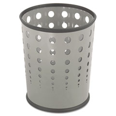 Bubble Wastebasket, Round, Steel, 6gal, Gray