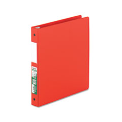 "Clean Touch Locking Round Ring Reference Binder, Antimicrobial, 1"" Cap, Red"