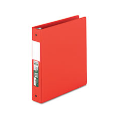 "Clean Touch Locking Round Ring Reference Binder, Antimicrobial, 1 1/2"" Cap, Red"