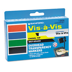 Vis-à-Vis Wet-Erase Marker, Chisel Point, Assorted, 4/Set
