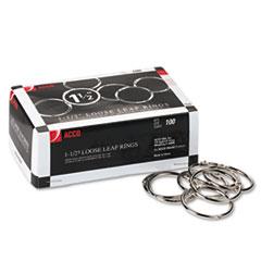 """Metal Book Rings, 1 1/2"""" Diameter, 100 Rings/Box"""