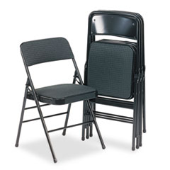 Deluxe Fabric Padded Seat & Back Folding Chairs, Cavallaro Black, 4/Carton CSC36885CVB4